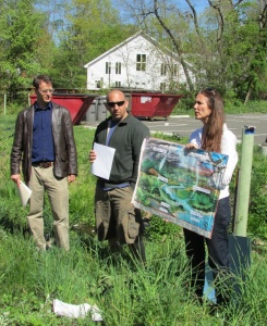 Members of the Sparkill Creek Watershed Alliance demonstrate what a watershed is along a tributary to the Sparkill  (Photo: E. Vail)