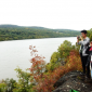 Students surveying Hudson River